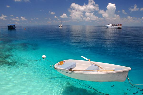 Paisagem do mar nas Ilhas Maldivas