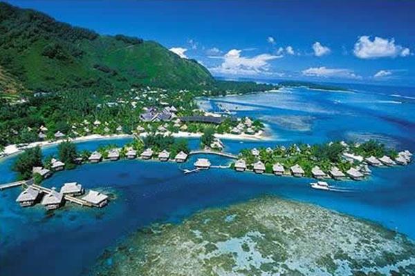 Vista aérea do Tahiti Intercontinental Resort